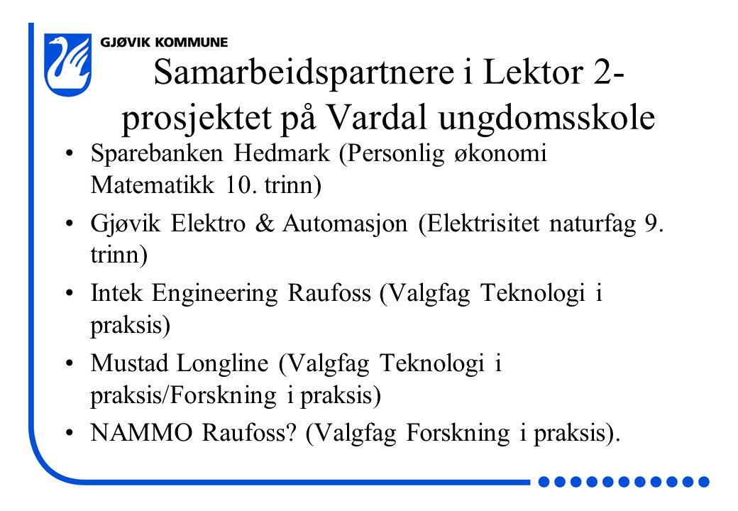 Samarbeidspartnere i Lektor 2- prosjektet på Vardal ungdomsskole Sparebanken Hedmark (Personlig økonomi Matematikk 10.