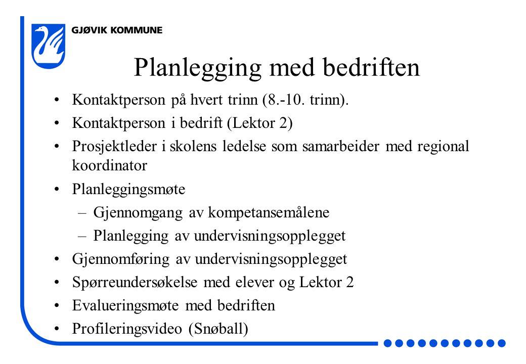 Planlegging med bedriften Kontaktperson på hvert trinn (8.-10.