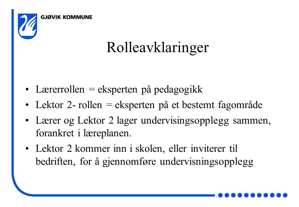 Rolleavklaringer Lærerrollen = eksperten på pedagogikk Lektor 2- rollen = eksperten på et bestemt fagområde Lærer og Lektor 2 lager undervisingsopplegg sammen, forankret i læreplanen.