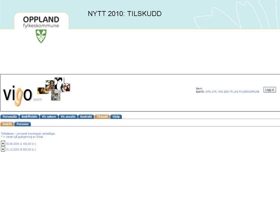 NYTT 2010: TILSKUDD
