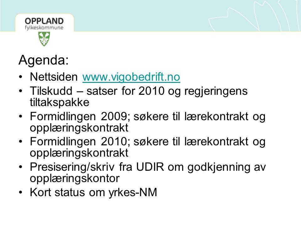 Agenda: Nettsiden www.vigobedrift.nowww.vigobedrift.no Tilskudd – satser for 2010 og regjeringens tiltakspakke Formidlingen 2009; søkere til lærekontrakt og opplæringskontrakt Formidlingen 2010; søkere til lærekontrakt og opplæringskontrakt Presisering/skriv fra UDIR om godkjenning av opplæringskontor Kort status om yrkes-NM