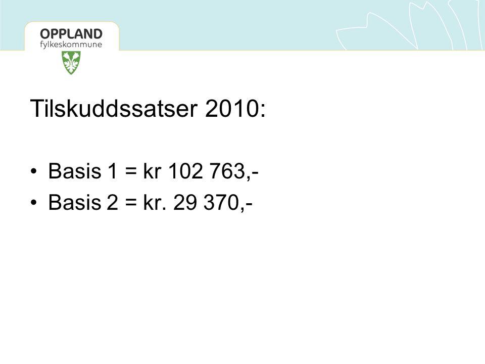 Tilskuddssatser 2010: Basis 1 = kr 102 763,- Basis 2 = kr. 29 370,-