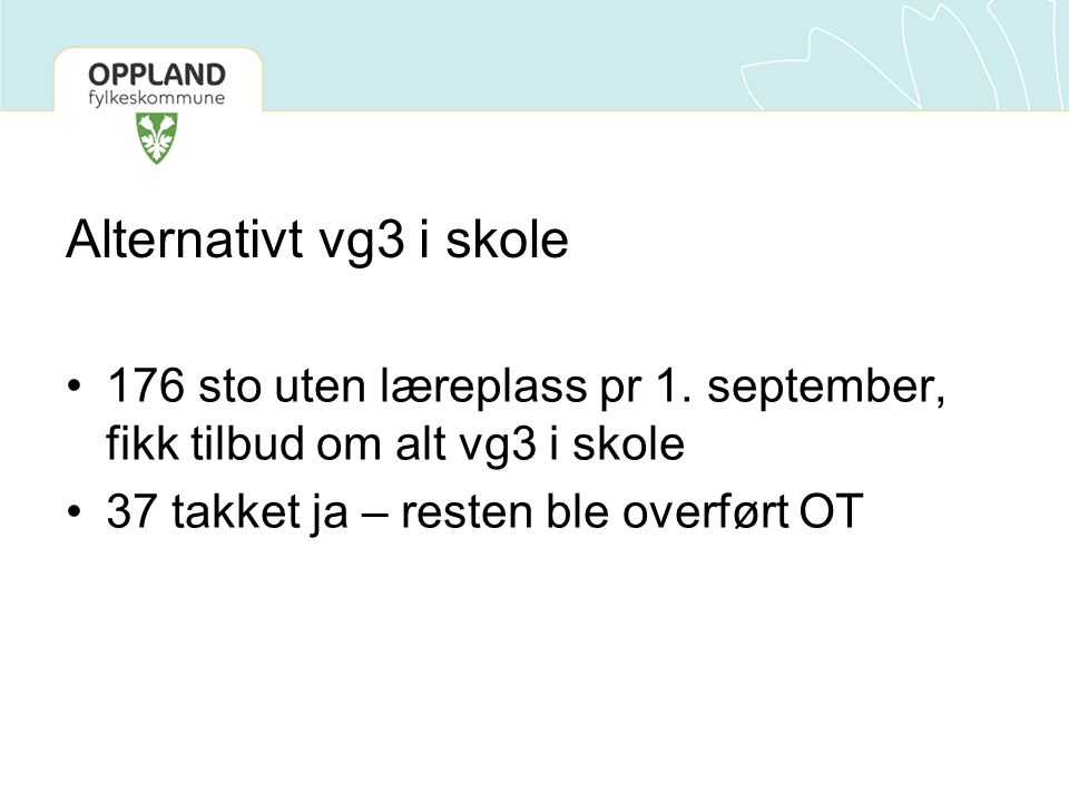 Alternativt vg3 i skole 176 sto uten læreplass pr 1. september, fikk tilbud om alt vg3 i skole 37 takket ja – resten ble overført OT