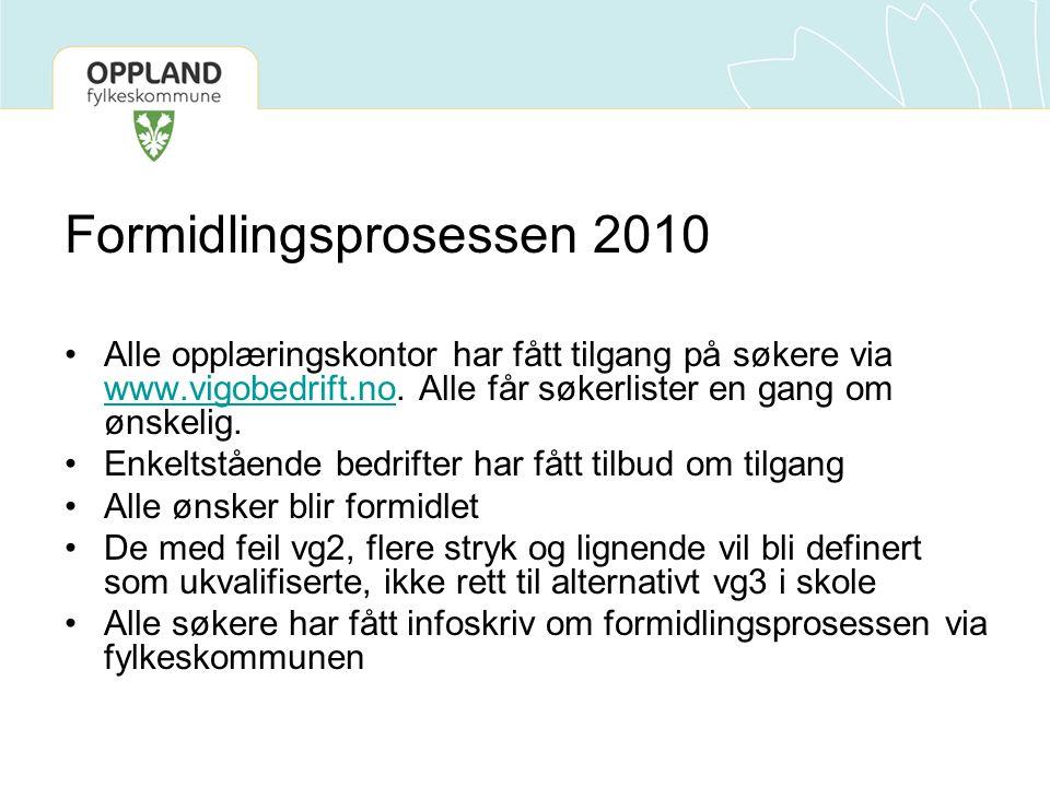 Formidlingsprosessen 2010 Alle opplæringskontor har fått tilgang på søkere via www.vigobedrift.no. Alle får søkerlister en gang om ønskelig. www.vigob