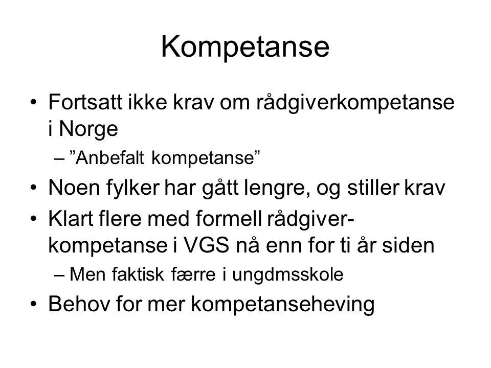 """Kompetanse Fortsatt ikke krav om rådgiverkompetanse i Norge –""""Anbefalt kompetanse"""" Noen fylker har gått lengre, og stiller krav Klart flere med formel"""