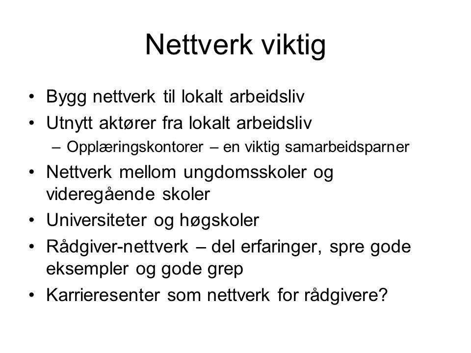 Nettverk viktig Bygg nettverk til lokalt arbeidsliv Utnytt aktører fra lokalt arbeidsliv –Opplæringskontorer – en viktig samarbeidsparner Nettverk mel