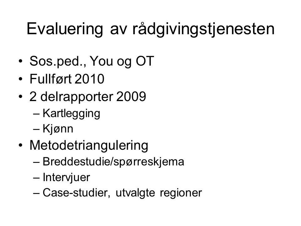 Evaluering av rådgivingstjenesten Sos.ped., You og OT Fullført 2010 2 delrapporter 2009 –Kartlegging –Kjønn Metodetriangulering –Breddestudie/spørresk