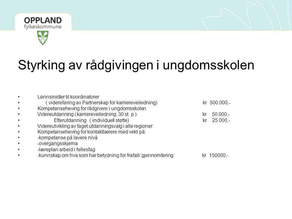 Styrking av rådgivingen i ungdomsskolen Lønnsmidler til koordinatorer ( videreføring av Partnerskap for karriereveiledning) kr 500.000,- Kompetansehev