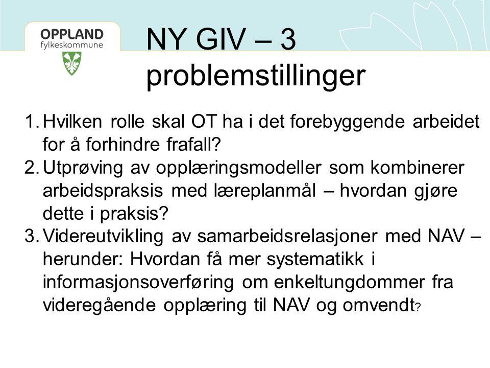 1.Hvilken rolle skal OT ha i det forebyggende arbeidet for å forhindre frafall.