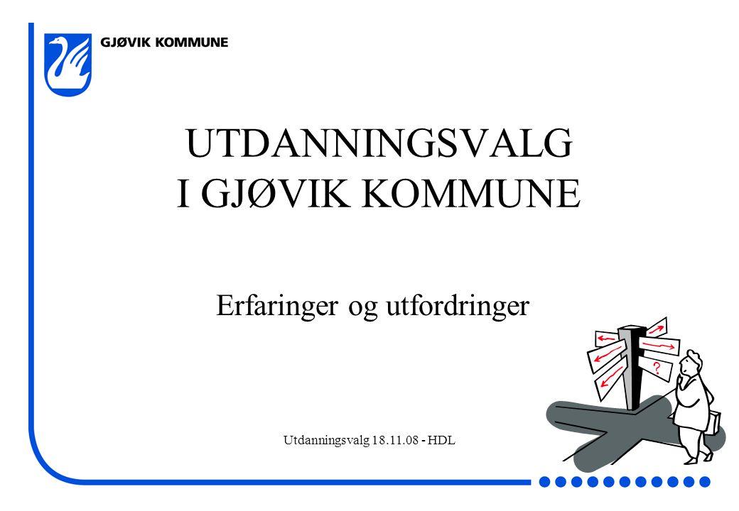 Utdanningsvalg 18.11.08 - HDL UTDANNINGSVALG I GJØVIK KOMMUNE Erfaringer og utfordringer