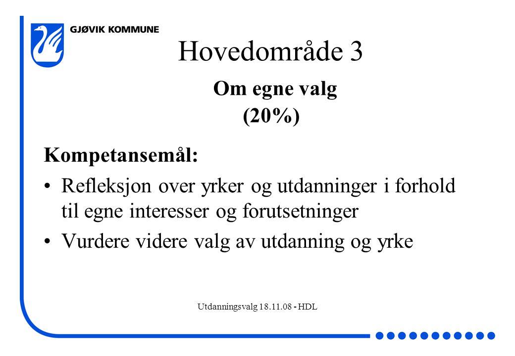 Utdanningsvalg 18.11.08 - HDL Hovedområde 3 Om egne valg (20%) Kompetansemål: Refleksjon over yrker og utdanninger i forhold til egne interesser og fo