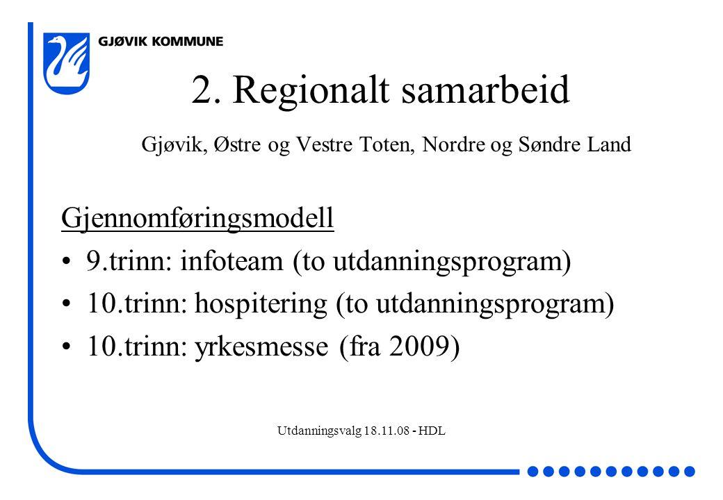 Utdanningsvalg 18.11.08 - HDL 2. Regionalt samarbeid Gjøvik, Østre og Vestre Toten, Nordre og Søndre Land Gjennomføringsmodell 9.trinn: infoteam (to u