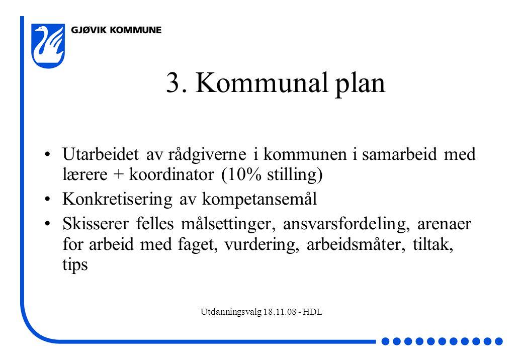 Utdanningsvalg 18.11.08 - HDL 3. Kommunal plan Utarbeidet av rådgiverne i kommunen i samarbeid med lærere + koordinator (10% stilling) Konkretisering