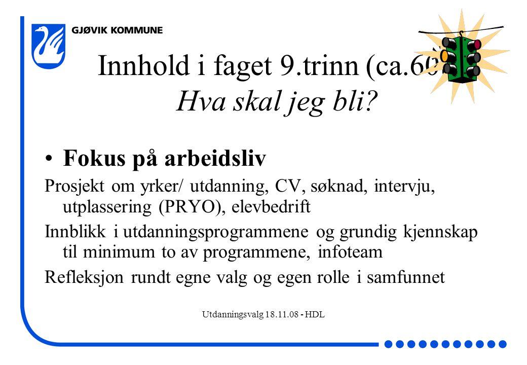 Utdanningsvalg 18.11.08 - HDL Innhold i faget 9.trinn (ca.60t) Hva skal jeg bli? Fokus på arbeidsliv Prosjekt om yrker/ utdanning, CV, søknad, intervj