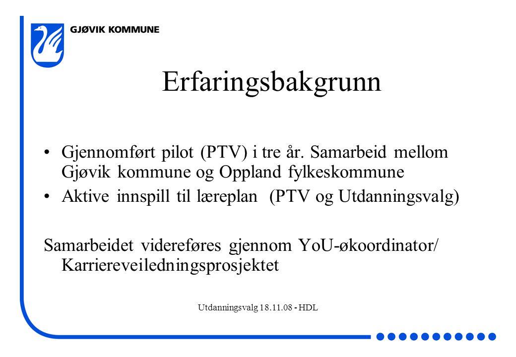 Utdanningsvalg 18.11.08 - HDL Erfaringsbakgrunn Gjennomført pilot (PTV) i tre år. Samarbeid mellom Gjøvik kommune og Oppland fylkeskommune Aktive inns