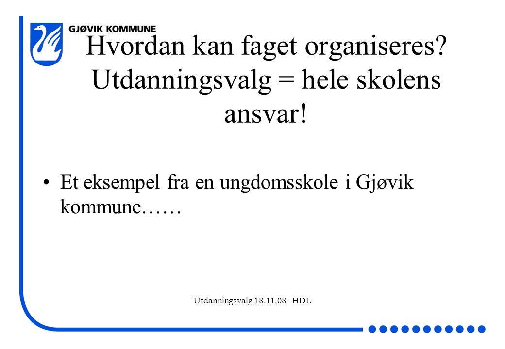 Utdanningsvalg 18.11.08 - HDL Hvordan kan faget organiseres? Utdanningsvalg = hele skolens ansvar! Et eksempel fra en ungdomsskole i Gjøvik kommune……