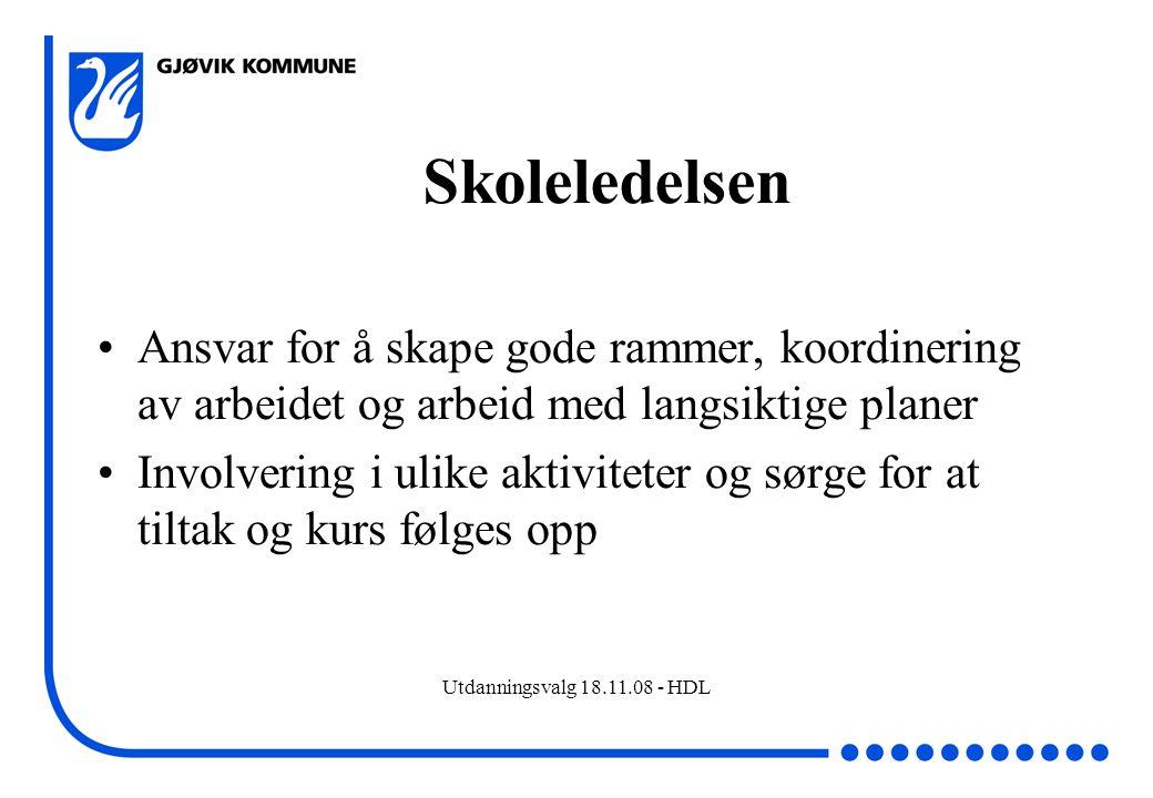Utdanningsvalg 18.11.08 - HDL Skoleledelsen Ansvar for å skape gode rammer, koordinering av arbeidet og arbeid med langsiktige planer Involvering i ul