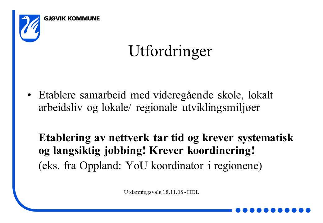 Utdanningsvalg 18.11.08 - HDL Utfordringer Etablere samarbeid med videregående skole, lokalt arbeidsliv og lokale/ regionale utviklingsmiljøer Etabler