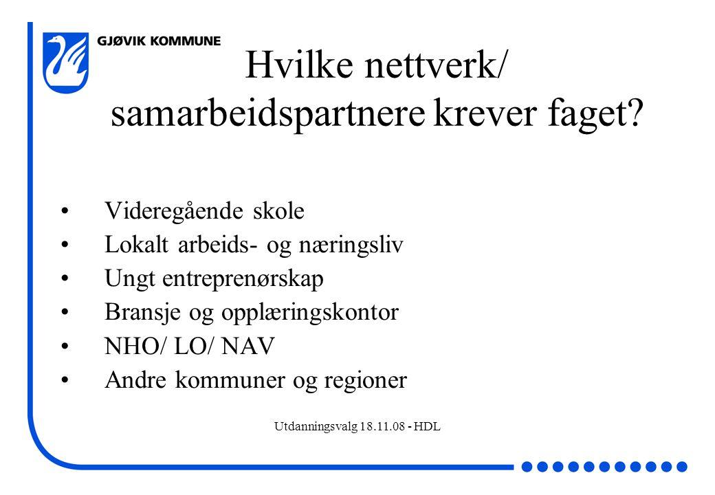 Utdanningsvalg 18.11.08 - HDL Hvilke nettverk/ samarbeidspartnere krever faget? Videregående skole Lokalt arbeids- og næringsliv Ungt entreprenørskap