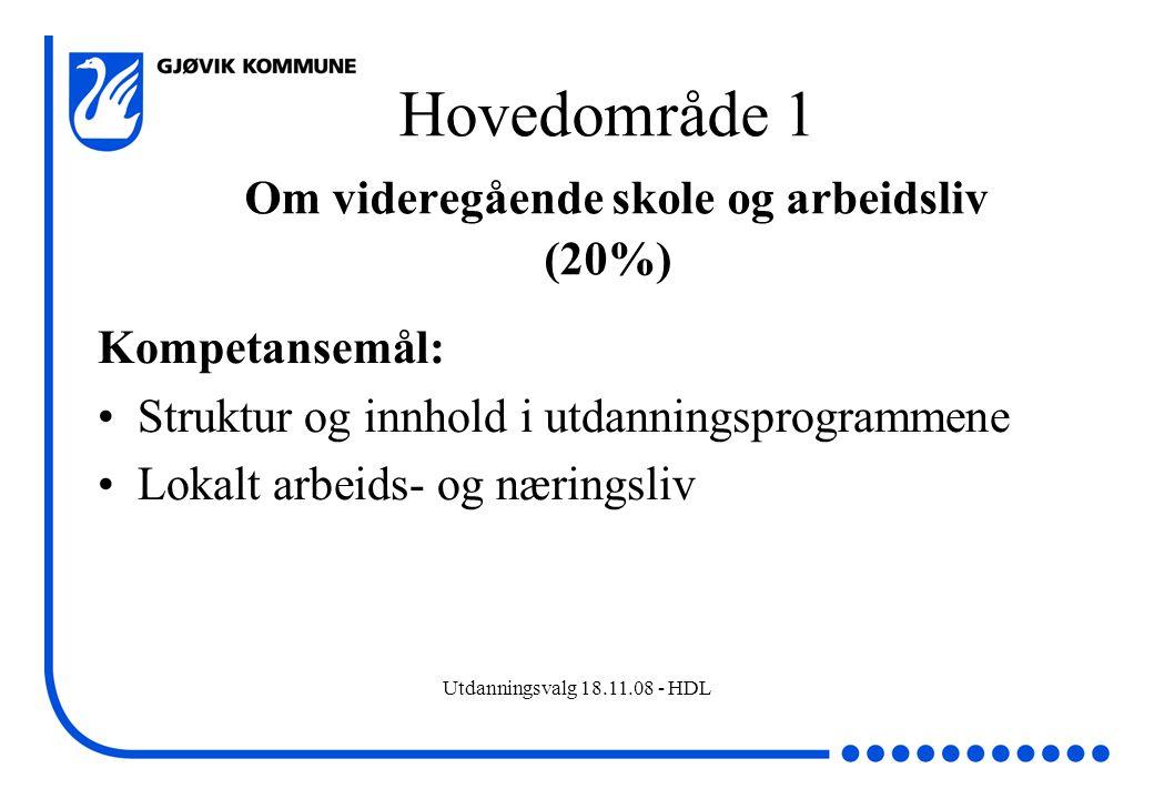 Utdanningsvalg 18.11.08 - HDL Hovedområde 2 Utprøving av utdanningsprogram (60%) Kompetansemål: Planlegge, gjennomføre og dokumentere aktiviteter og arbeidsoppgaver knyttet til kompetansemål fra utdanningsprogram Kan foregå både i skole og arbeidsliv Praktisk rettet