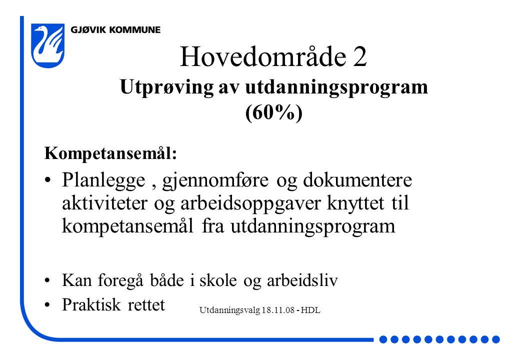 Utdanningsvalg 18.11.08 - HDL Hovedområde 2 Utprøving av utdanningsprogram (60%) Kompetansemål: Planlegge, gjennomføre og dokumentere aktiviteter og a