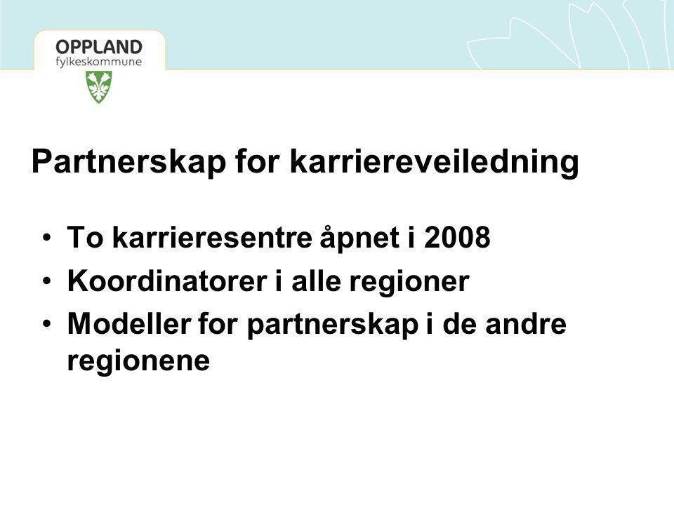 Partnerskap for karriereveiledning To karrieresentre åpnet i 2008 Koordinatorer i alle regioner Modeller for partnerskap i de andre regionene