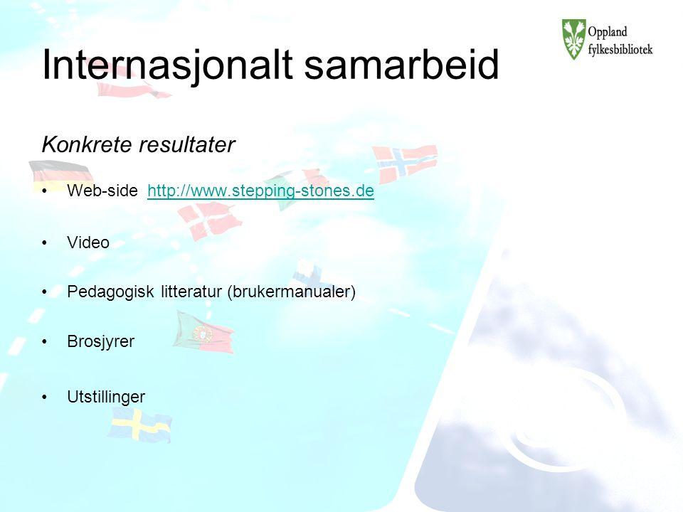 Internasjonalt samarbeid Konkrete resultater Web-side http://www.stepping-stones.de http://www.stepping-stones.de Video Pedagogisk litteratur (brukerm