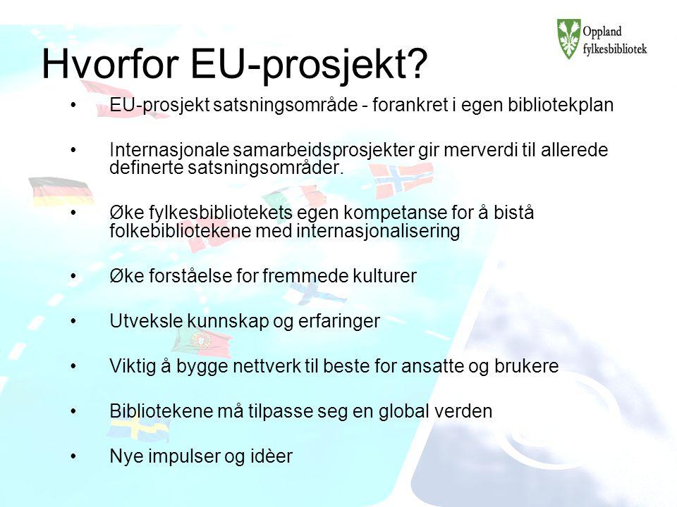 Hvorfor EU-prosjekt? EU-prosjekt satsningsområde - forankret i egen bibliotekplan Internasjonale samarbeidsprosjekter gir merverdi til allerede define