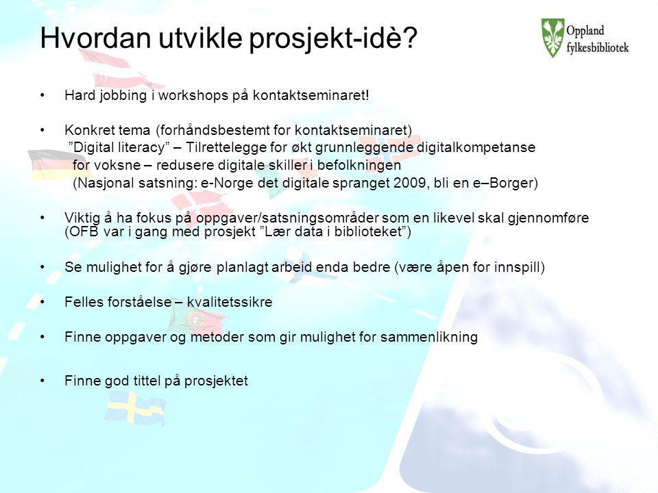 """Hvordan utvikle prosjekt-idè? Hard jobbing i workshops på kontaktseminaret! Konkret tema (forhåndsbestemt for kontaktseminaret) """"Digital literacy"""" – T"""