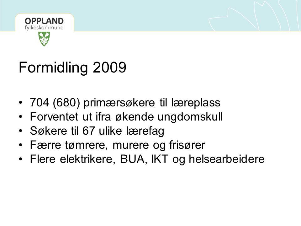Formidling 2009 704 (680) primærsøkere til læreplass Forventet ut ifra økende ungdomskull Søkere til 67 ulike lærefag Færre tømrere, murere og frisøre