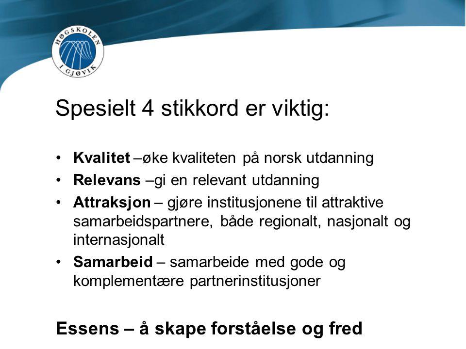 Spesielle utfordringer for Høgskolen i Gjøvik Relativt liten høgskole- hvordan være attraktiv for gode internasjonale partnere.