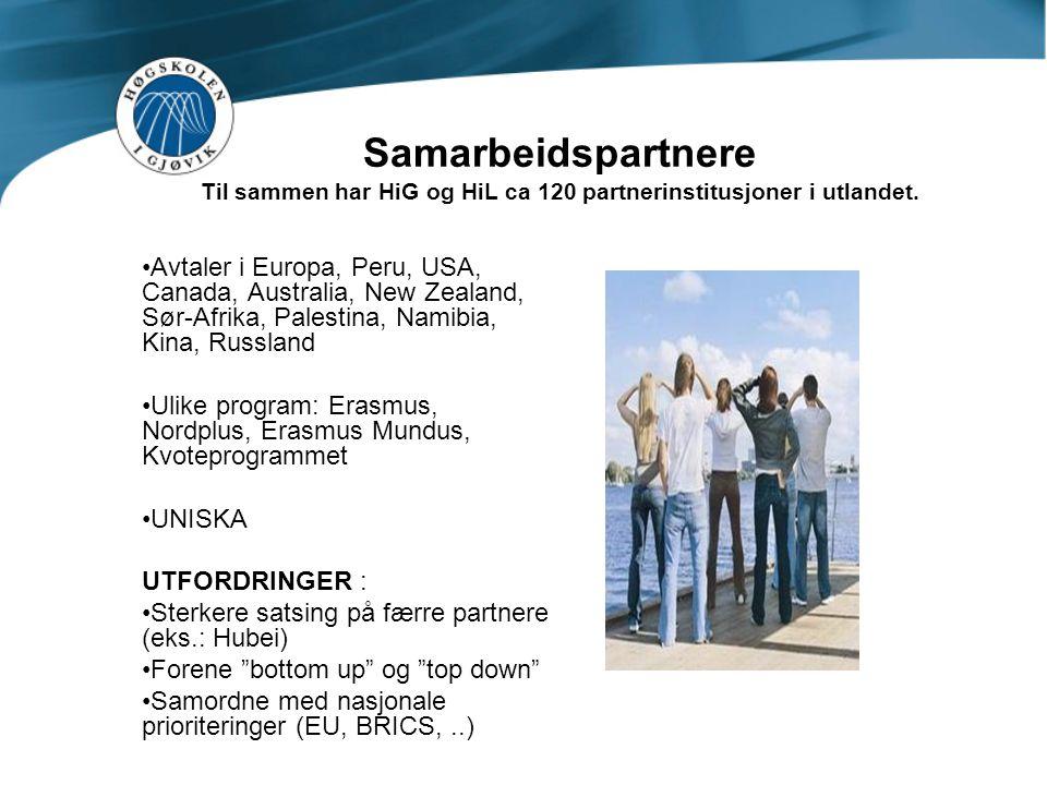 Samarbeidspartnere Til sammen har HiG og HiL ca 120 partnerinstitusjoner i utlandet.