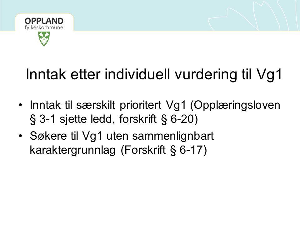 Inntak etter individuell vurdering til Vg1 Inntak til særskilt prioritert Vg1 (Opplæringsloven § 3-1 sjette ledd, forskrift § 6-20) Søkere til Vg1 ute