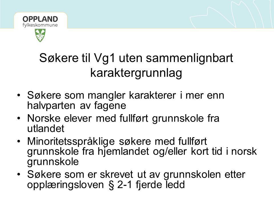 Søkere til Vg1 uten sammenlignbart karaktergrunnlag Søkere som mangler karakterer i mer enn halvparten av fagene Norske elever med fullført grunnskole