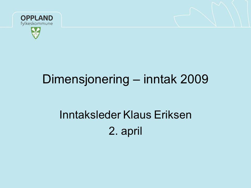 Dimensjonering – inntak 2009 Inntaksleder Klaus Eriksen 2. april