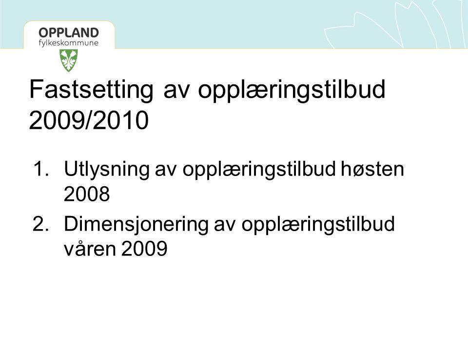 Fastsetting av opplæringstilbud 2009/2010 1.Utlysning av opplæringstilbud høsten 2008 2.Dimensjonering av opplæringstilbud våren 2009