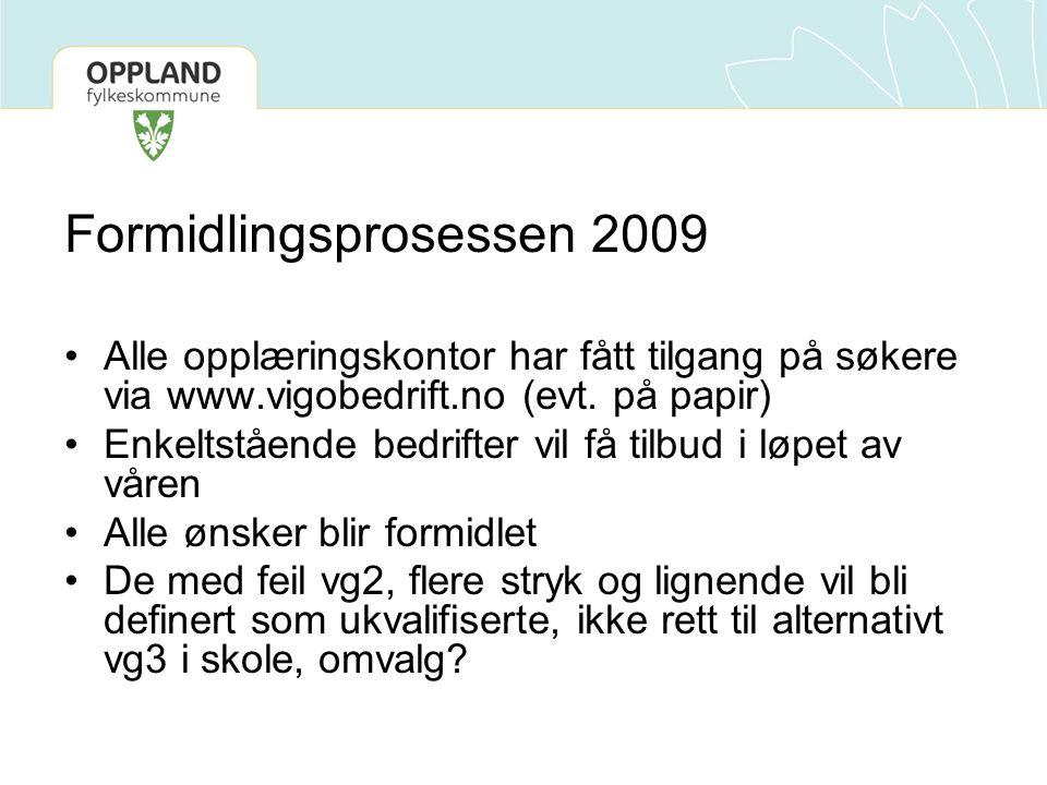 Formidlingsprosessen 2009 Alle opplæringskontor har fått tilgang på søkere via www.vigobedrift.no (evt. på papir) Enkeltstående bedrifter vil få tilbu