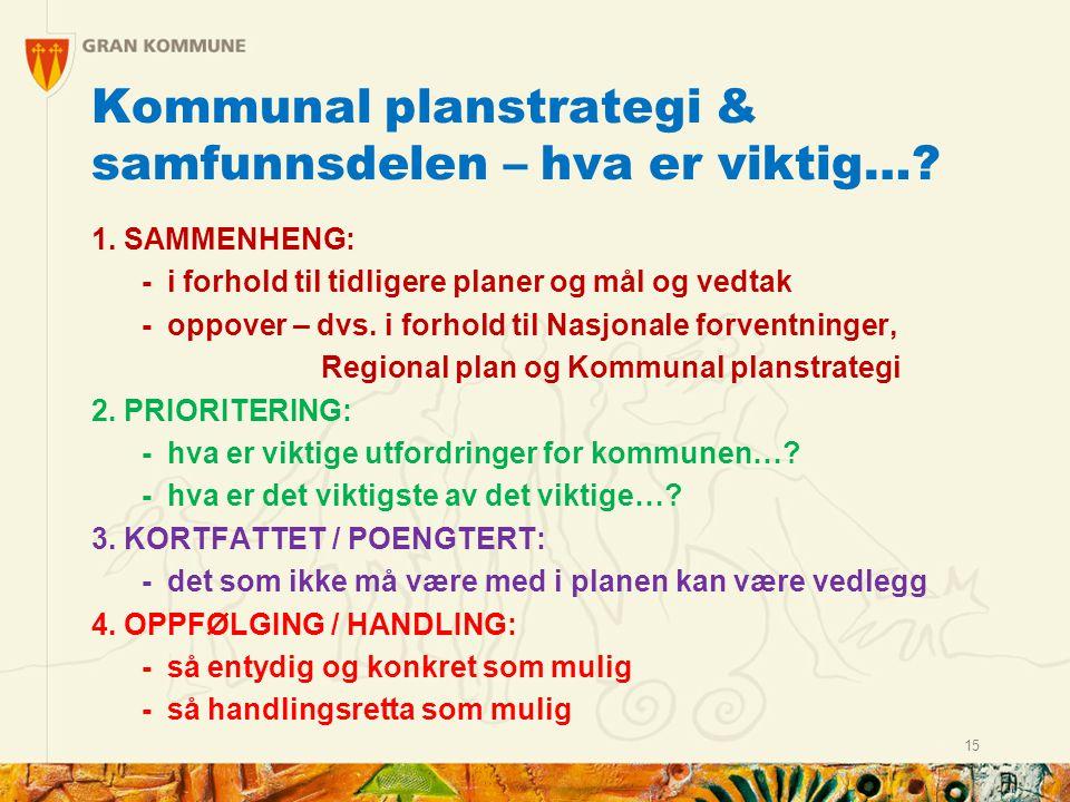 Kommunal planstrategi & samfunnsdelen – hva er viktig….