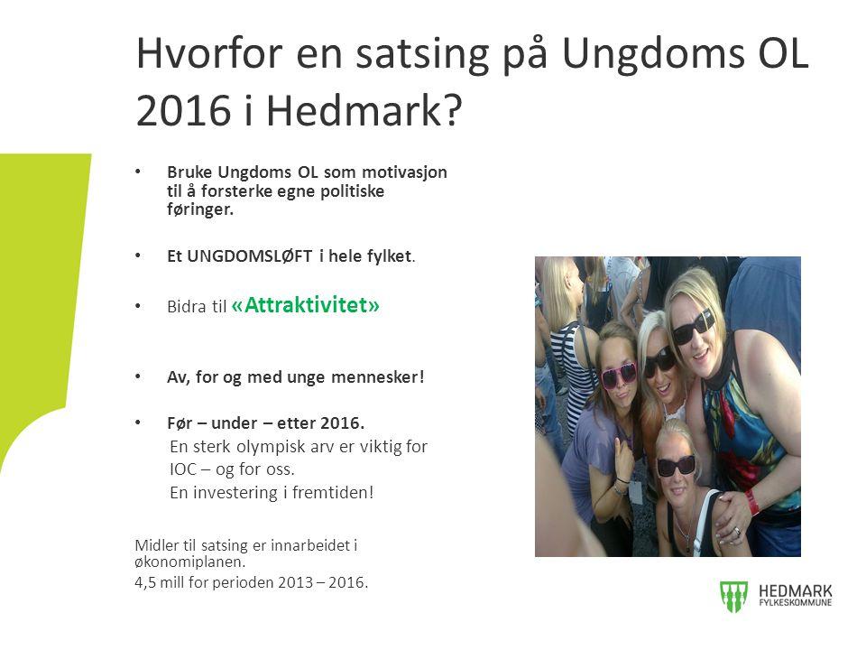 Hvorfor en satsing på Ungdoms OL 2016 i Hedmark? Bruke Ungdoms OL som motivasjon til å forsterke egne politiske føringer. Et UNGDOMSLØFT i hele fylket