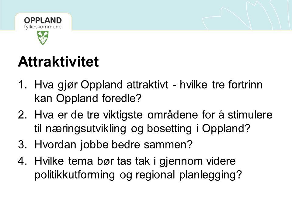 Attraktivitet 1.Hva gjør Oppland attraktivt - hvilke tre fortrinn kan Oppland foredle.