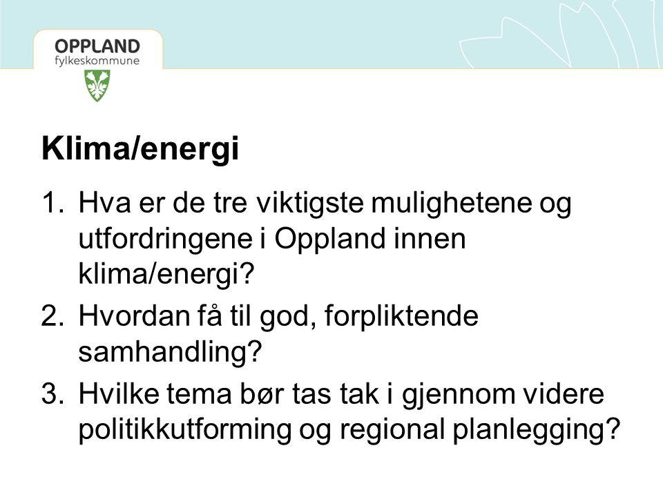 Klima/energi 1.Hva er de tre viktigste mulighetene og utfordringene i Oppland innen klima/energi? 2.Hvordan få til god, forpliktende samhandling? 3.Hv