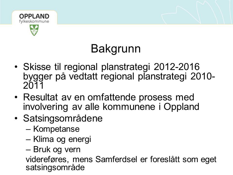 Bakgrunn Skisse til regional planstrategi 2012-2016 bygger på vedtatt regional planstrategi 2010- 2011 Resultat av en omfattende prosess med involvering av alle kommunene i Oppland Satsingsområdene –Kompetanse –Klima og energi –Bruk og vern videreføres, mens Samferdsel er foreslått som eget satsingsområde