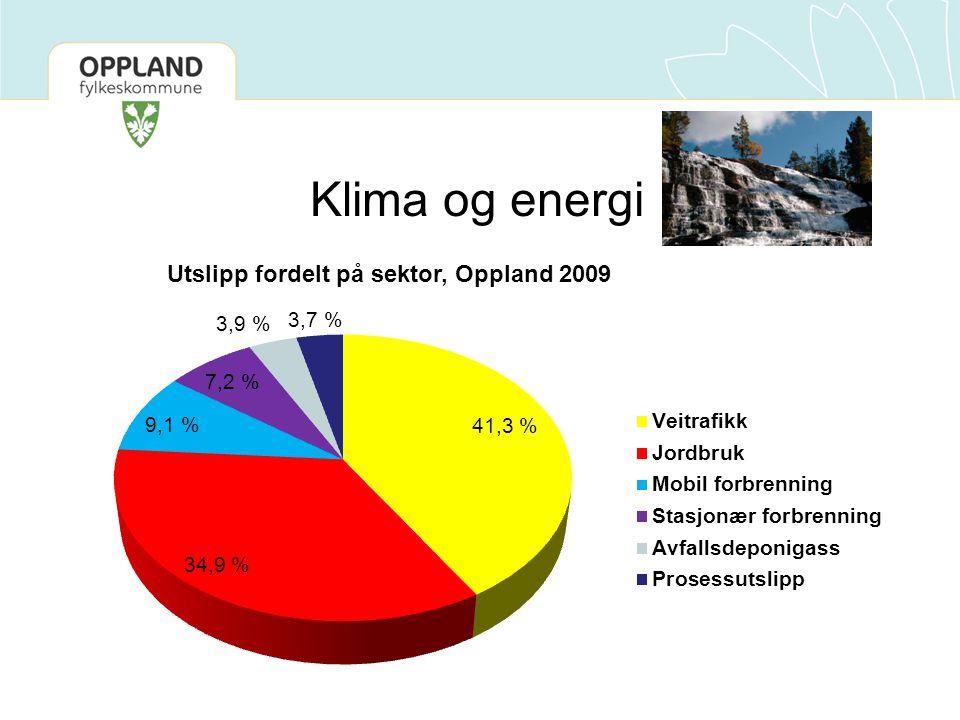 Klima og energi Utslipp fordelt på sektor, Oppland 2009