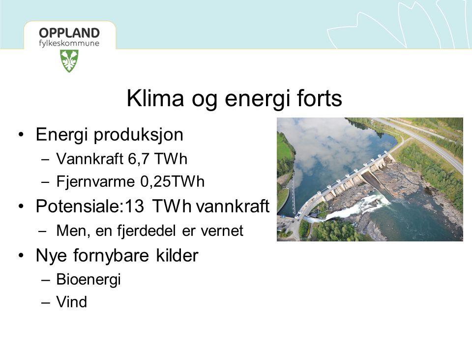 Energi produksjon – Vannkraft 6,7 TWh – Fjernvarme 0,25TWh Potensiale:13 TWh vannkraft – Men, en fjerdedel er vernet Nye fornybare kilder –Bioenergi –Vind Klima og energi forts