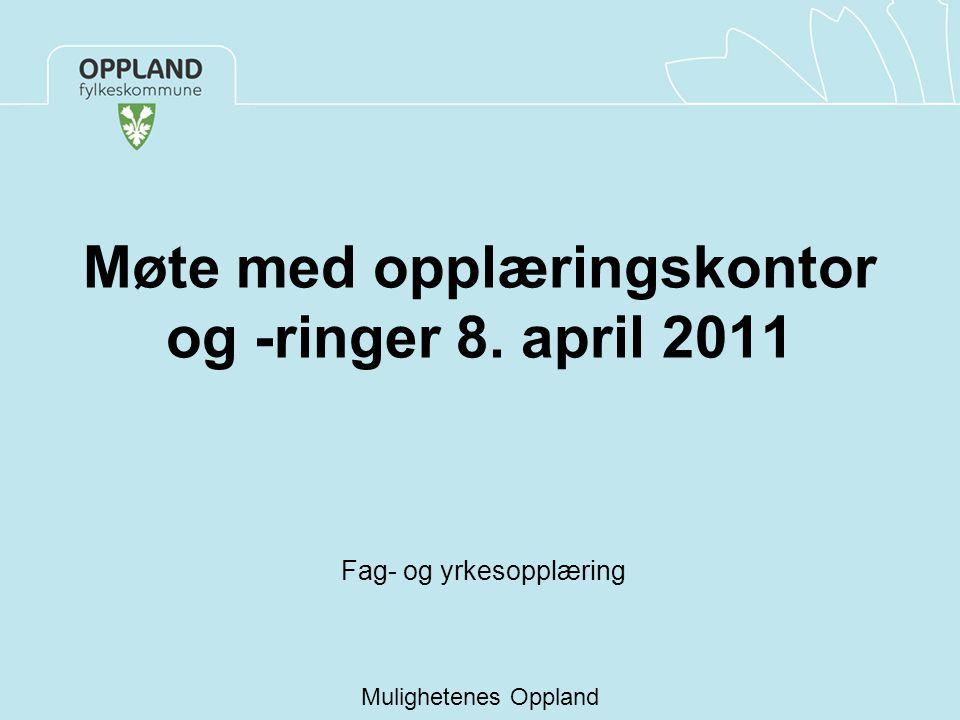Møte med opplæringskontor og -ringer 8. april 2011 Fag- og yrkesopplæring Mulighetenes Oppland