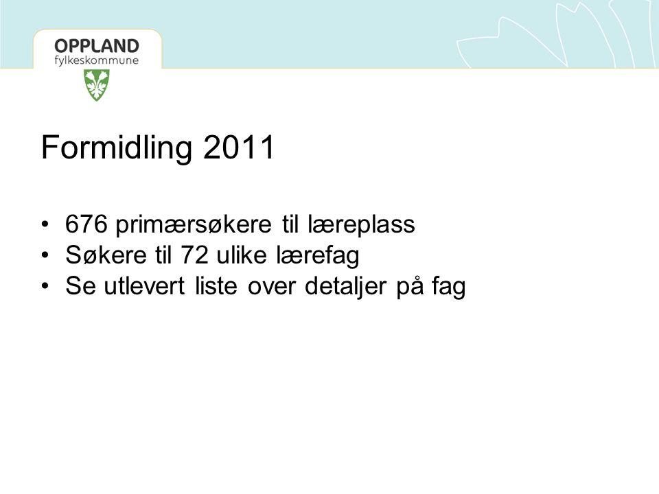 Formidlingsprosessen 2011 Alle opplæringskontor har fått tilgang på søkere via www.vigobedrift.no.