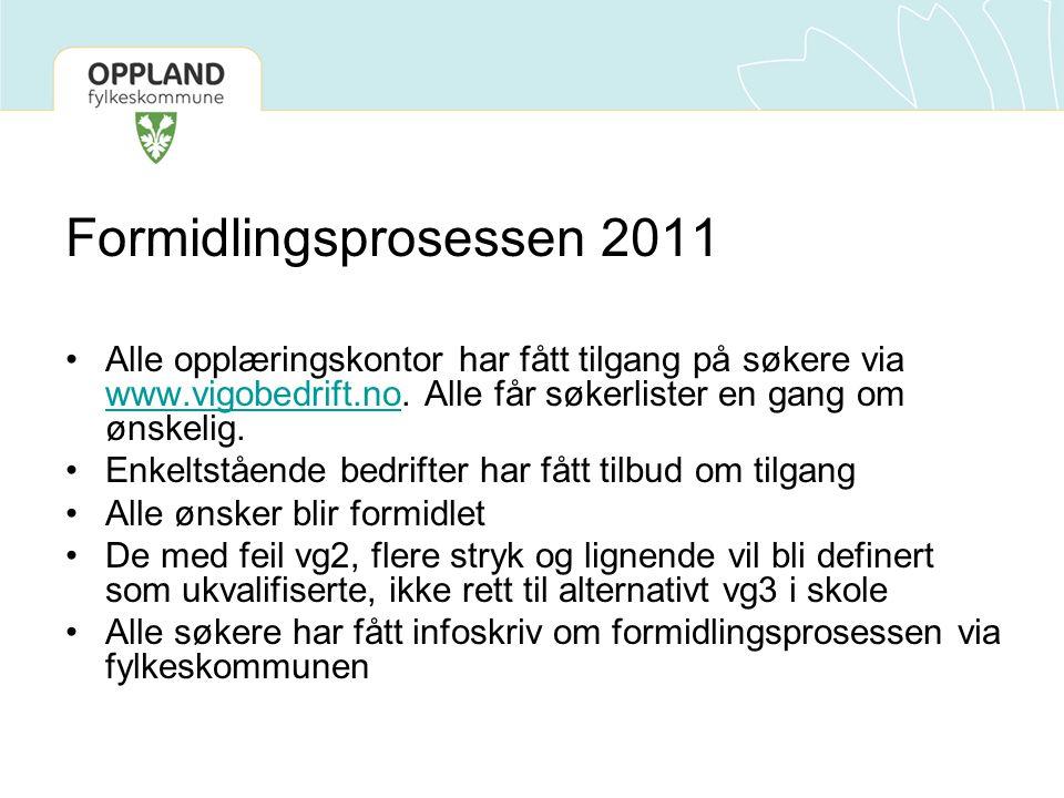 Formidlingsprosessen 2011 Alle opplæringskontor har fått tilgang på søkere via www.vigobedrift.no. Alle får søkerlister en gang om ønskelig. www.vigob
