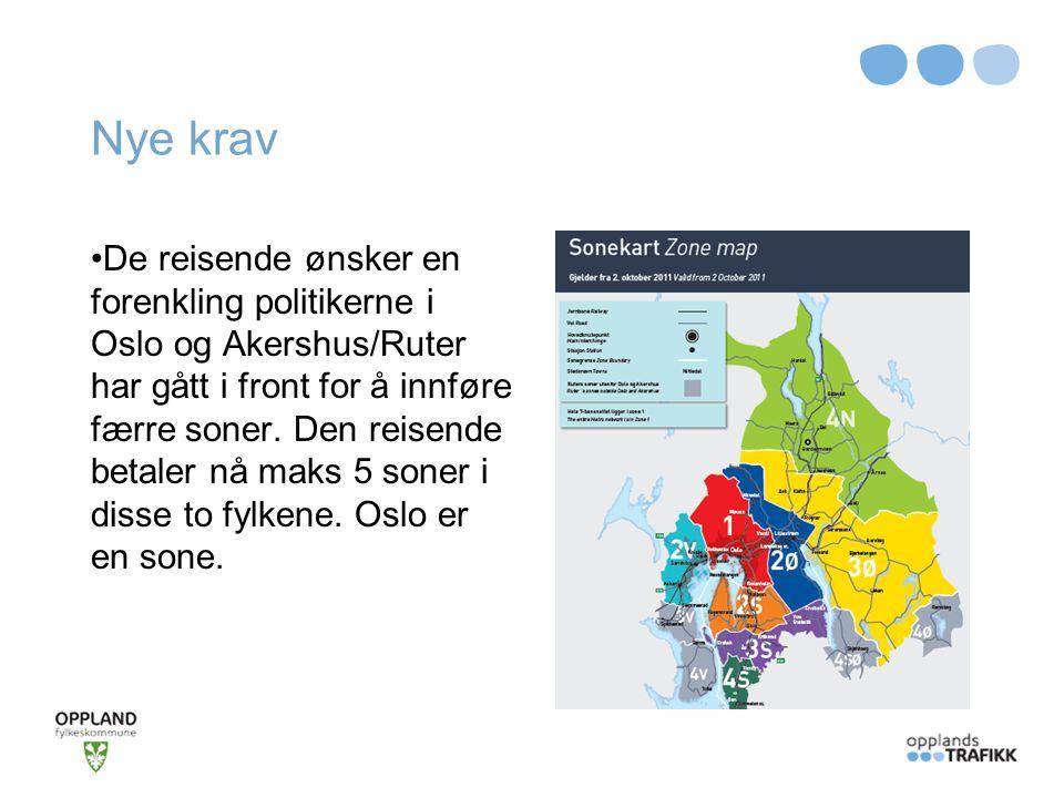 Nye krav De reisende ønsker en forenkling politikerne i Oslo og Akershus/Ruter har gått i front for å innføre færre soner. Den reisende betaler nå mak