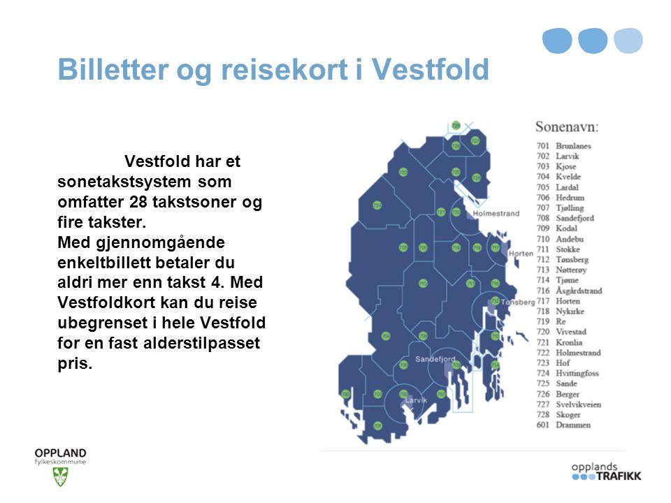 Billetter og reisekort i Vestfold Vestfold har et sonetakstsystem som omfatter 28 takstsoner og fire takster. Med gjennomgående enkeltbillett betaler