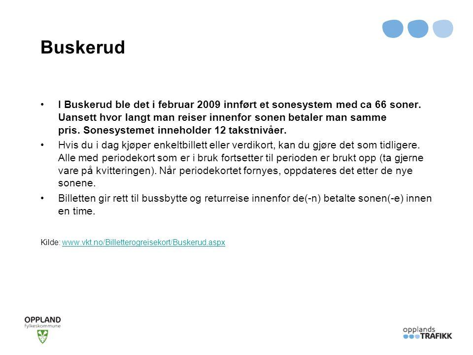 Buskerud I Buskerud ble det i februar 2009 innført et sonesystem med ca 66 soner. Uansett hvor langt man reiser innenfor sonen betaler man samme pris.